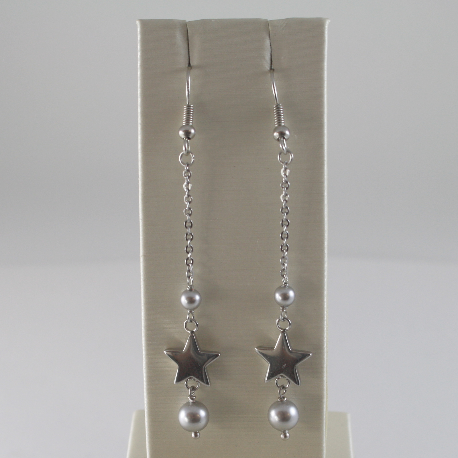 STAINLESS STEEL HOOK EARRINGS WITH GREY PEARLS AND STAR CHARMS, 2.75 IN LONG