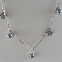 STAINLESS STEEL NECKLACE WITH GREY PEARLS, FLOWER AND HEART CHARMS 28.75 IN LONG image 1