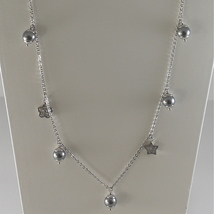 STAINLESS STEEL NECKLACE WITH GREY PEARLS, FLOWER AND HEART CHARMS 28.75 IN LONG image 2