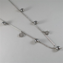 STAINLESS STEEL NECKLACE WITH GREY PEARLS, FLOWER AND HEART CHARMS 28.75 IN LONG image 3