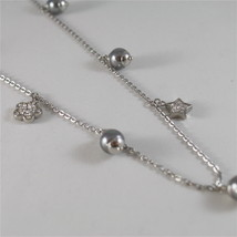STAINLESS STEEL NECKLACE WITH GREY PEARLS, FLOWER AND HEART CHARMS 28.75 IN LONG image 4