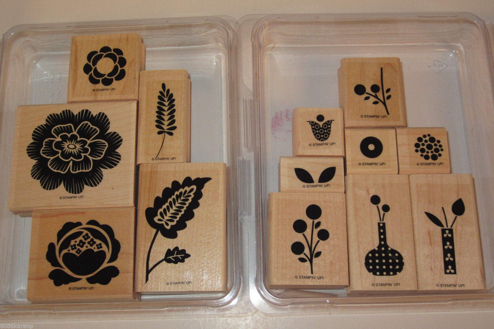 Primary image for Stampin Up ARRAY OF SUNSHINE and BRIGHT BLOSSOMS Wood Stamp Sets Retired flower