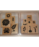 Stampin Up ARRAY OF SUNSHINE and BRIGHT BLOSSOMS Wood Stamp Sets Retired flower - $21.77