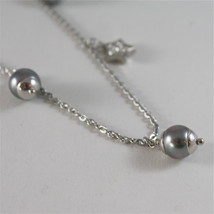 STAINLESS STEEL NECKLACE WITH GREY PEARLS, FLOWER AND HEART CHARMS 28.75 IN LONG image 5