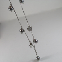 STAINLESS STEEL NECKLACE WITH GREY PEARLS, FLOWER AND HEART CHARMS 28.75 IN LONG image 6