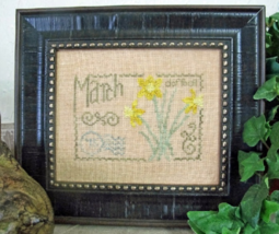 March Daffodil Floral Postcard cross stitch chart From The Heart  - $5.00