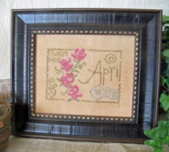 April Sweet Pea Floral Postcard cross stitch chart From The Heart  - $5.00