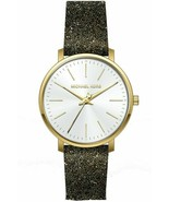 BRAND NEW MICHAEL KORS MK2878 PYPER BLACK GOLD CRYSTALS LEATHER WOMEN'S ... - £99.01 GBP
