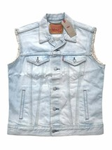 Levis Jeans Red Tab Mens Light Blue Denim Trucker Vest Cut Off Sleeve Ja... - $47.49