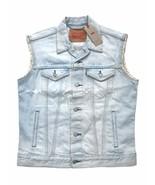 Levis Jeans Red Tab Mens Light Blue Denim Trucker Vest Cut Off Sleeve Ja... - $47.49
