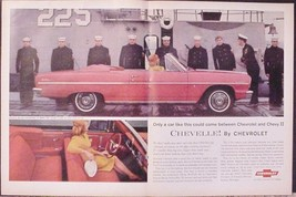 1964 Chevrolet Chevelle Malibu Red Convertible Centerfold AD with US Nav... - $12.95