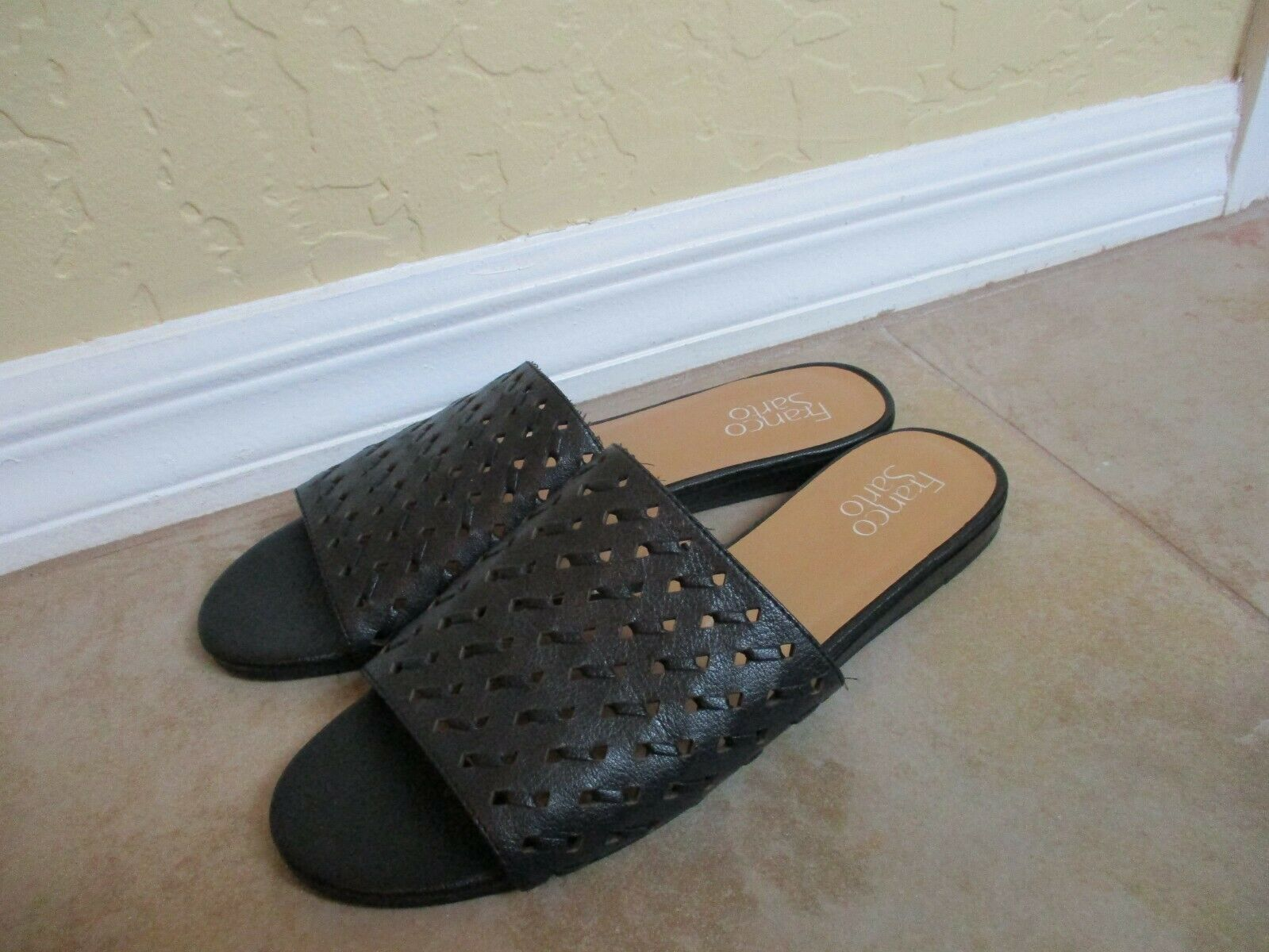 Franco Sarta Black Perforated Leather Mules For Women Size 9 Eur 39.5 image 9