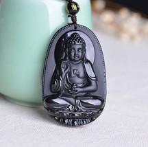 natural Obsidian Hand carved Tibet buddha zen Meditation yoga buddha pendant - $25.74