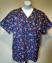 Christmas Scrub Top Santa Claus Star Blue Size Large Fashion Scrubs - $9.99