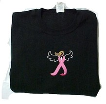 Breast Cancer Pink Ribbon Angel Black Crew Neck Sweatshirt Centered Chest 5X New - $30.66