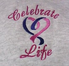 Celebrate Life Purple Pink Heart Gray Hoodie Sweatshirt Large Unisex New - $30.69