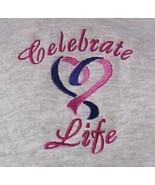 Celebrate Life Purple Pink Heart Gray Hoodie Sweatshirt 4X Unisex New - $38.37