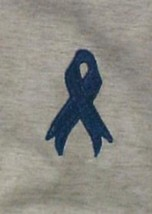 Colon Cancer Blue Ribbon Ash Gray Crew Neck Sweatshirt Large Unisex New - $22.51