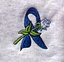 Colon Cancer Blue Ribbon White Rose Gray Crew Neck Sweatshirt Medium Unisex New - $23.01