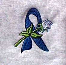 Colon Cancer Blue Ribbon White Rose Gray Crew Neck Sweatshirt Small Unisex New - $23.01