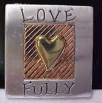 "Heart ""Love Fully"" Pewter Inspirational Quote Cheerful Brooch Pin New - $12.58"