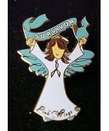 Ovarian Cancer Awareness Teal Ribbon Brown Hair Angel Survivor Pin Jewel... - $13.83