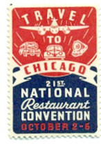 NATIONAL RESTAURANT CONVENTION CHICAGO vintage unused souvenir sticker (... - $9.89