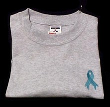 An item in the Fashion category: Ovarian Cancer Teal Ribbon Ash Gray Crew Neck Sweatshirt 4X Unisex New