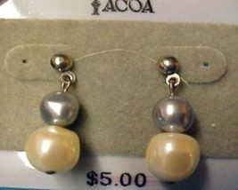 Tacoa Florenza Faux Pearl Costume Fashion Dangle Post Pierced Earrings Used - $8.70