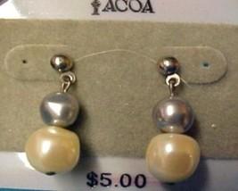Tacoa Florenza Faux Pearl Costume Fashion Dangle Post Pierced Earrings Used - $8.79