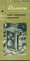 REVERE Cine & Recording Equipment 12-section 1952 brochure featuring cameras etc - $9.89