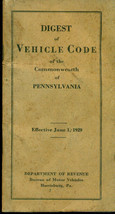 1929 DIGEST OF VEHICLE CODE OF THE COMMONWEALTH OF PENNSYLVANIA (Harrisb... - $9.89