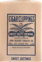 CIGAR CLIPPINGS unused pouch John Weisert Tobacco (St. Louis MO) circa 1... - $9.89
