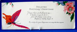 Antique Gift Tag Belated Birthday Greetings Butterfly1920s Poem - $4.00