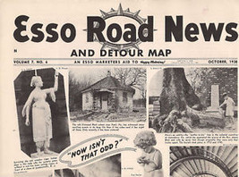 ESSO ROAD NEWS And Detour Map Oct. 1938 4-page tabloid - $9.89