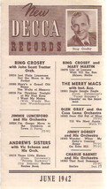 1942 Decca Records brochure from June Bing Crosby Louis Armstrong and more! - $9.89
