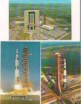 NASA lot (3) vintage 1960s Kennedy Space Center postcards Apollo/Saturn ... - $9.89