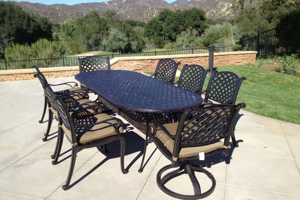 Patio dining set 9pc cast aluminum luxury outdoor for Fine outdoor furniture