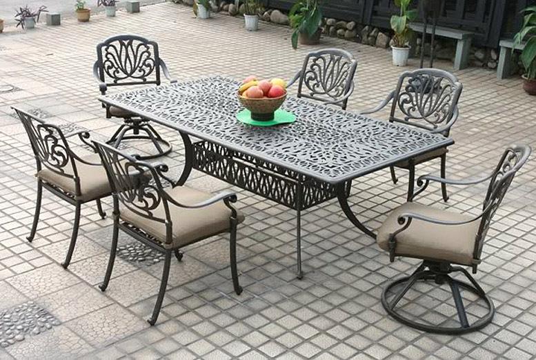 Patio dining set 7PC Elisabeth cast aluminum outdoor furniture rust-free Bronze