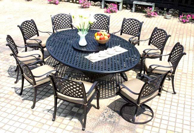 Patio Dining Set 12 Piece Nassau Cast Aluminum Outdoor Furniture Seats 10 Bro