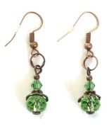 Copper Fish Hook Style Dangle Earrings with Light Green Glass Beads - $9.00