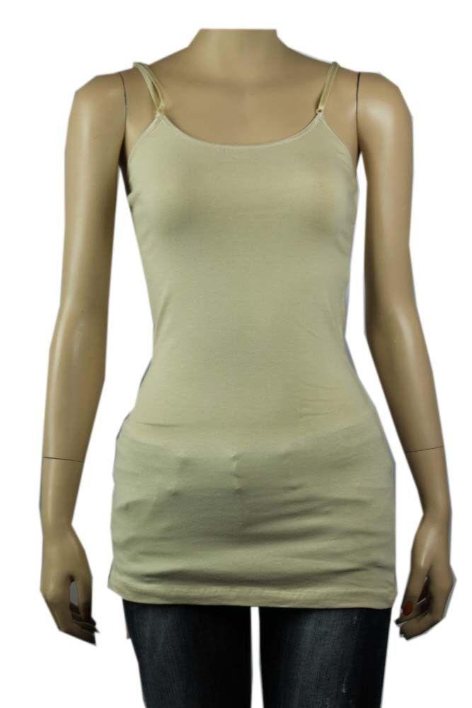 12COL Basic SPAGHETTI TANK TOP Adjust Strap Tunic Long Layering Casual Cami Plus