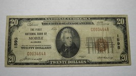 $20 1929 Mobile Alabama AL National Currency Bank Note Bill! Ch. #1595 F... - $121.54