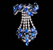 "HUGE 4"" Blue Brooch - large swag  aurora borealis - estate juliana BIG b... - $275.00"