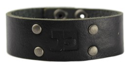 NEW JOE'S JEANS LEATHER STUDDED CUFF WRISTBAND BRACELET BLACK JJ5004