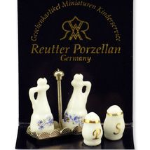 DOLLHOUSE Cruet Set 1.942/0 Reutter Blue Onion S & P Miniature  - $13.11