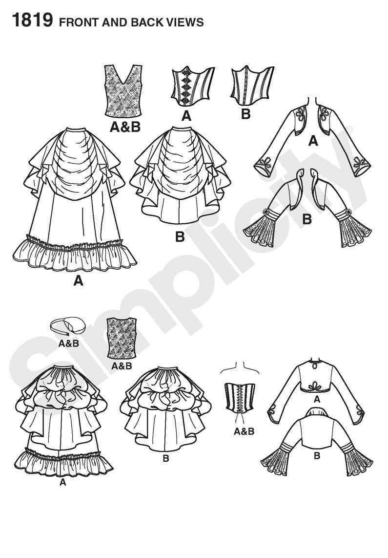 Simplicity 1819 Misses' Steampunk Victorian Era Costumes Pattern 14-22