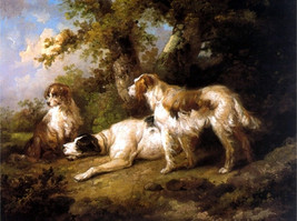 "11x14"" Cotton Canvas Print, Dogs in Landscape, Setters, Pointers, Canine - $23.99"