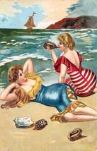 "11x14"" Cotton Canvas Print, Seascape, Beach, Two Women Sun Bathing on th... - $23.99"