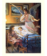 Angel Guardian at Bedside 11x14 canvas print  Angel watches over ill child in cr - $23.00
